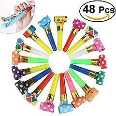 Idea Regalo - Rosenice 48pcs partito corna Noisemakers trombette (colore casuale)