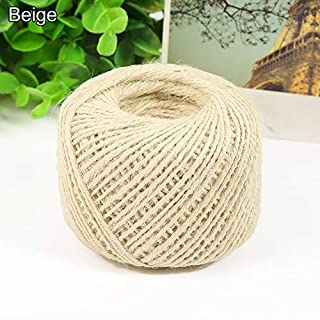 rycnet 50m Durable Twine Ball Hemp Rope Art Craft Wrap Gift Cord String Ball Decor New year's Gift Beige