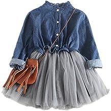 Modaworld Conjunto de Ropa de beb/é ni/ñas Trajes Camiseta de Manga Corta 7 A/ños Falda Vaquera Vestidos 1 Set Ropa de Fiesta ni/ña 2 A/ños