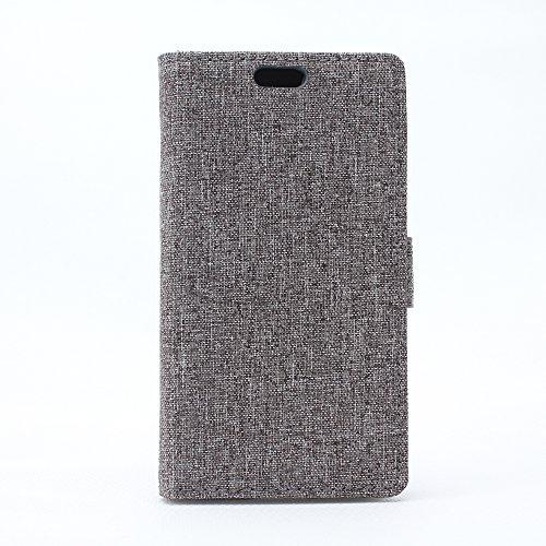 G386 Hülle,Samsung Galaxy Core 4G LTE Tasche,Samsung Galaxy Core 4G LTE Schutzhülle,Samsung G386 Hülle,Samsung G386 Leder Cover,Cozy hut [Burlap - Muster-Mappen-Kasten] echten Premium Leinwand Flip Folio Denim Abdeckungs-Fall, Slim Case mit Ständer Funktion und Identifikation-Kreditkarte Slots für Samsung Galaxy Core 4G SM-G386F (4,5 Zoll) - grau