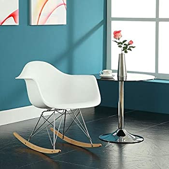 Elightry Rocking Chair Relaxing Armchair Lounge Recliner Leisure Chair PP Seat Metal Frame Wood Runner