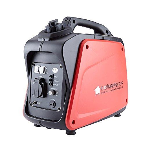 Trueshopping Generatore di Inverter Silenzioso Digitale Portatile a Benzina 1200W 1.6HP 60CC 230v