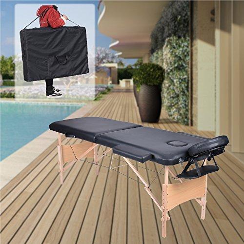Pawstory 2 zone legno lettino lettini da massaggio pieghevole tavolo da massaggio portatile estetica tatuaggi con poggiatesta e bracciolo, borsa da trasporto (nero)