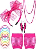 Blulu 80s Lace Stirnband Ohrringe Fischnetz Handschuhe Halskette Armband für 80s Partei (Lila)...