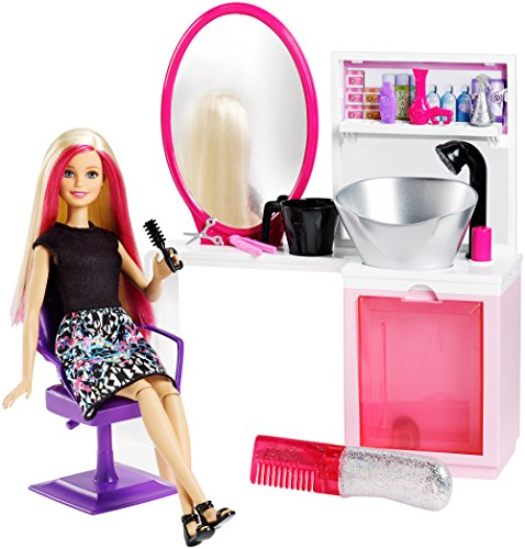 Barbie Mattel DTK05 - Glitzer Salon und Puppe Blond