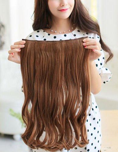 Magik 3/4 Voller Kopf-Haar-Verlängerungen Klipp gerade lockig m / 5 Clips, Lang (flachsfarben-Lockig)