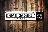 qidushop Panneau de Coiffeur Personnalisable en métal avec nom de barbier, décoration Murale rétro en métal, décoration Murale pour Homme, Cave, Bar, Garage, Aluminium