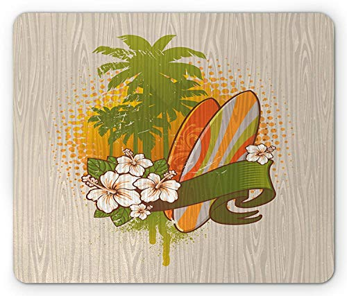 Surf Mouse Pad, Vintage Inspired Exotic Surf Painting on a Wood Board with Hibiscus Water Sports Art, Standard Size Rectangle Non-Slip Rubber Mousepad, Multicolor Video Jet-board