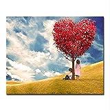cmhai (Kein Rahmen) Herz Baum DIY Malen Nach Zahlen Kits Färbung Romantische Kalligraphie Liebesbaum Öl Bilder Zeichnu