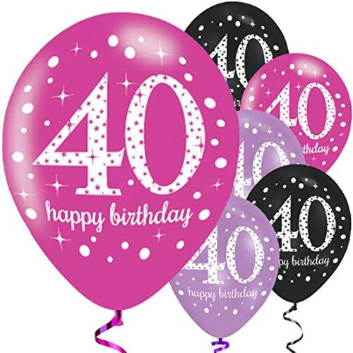 "Amscan Rosa, Lila und Schwarz 27,9 cm Feier: 40. Geburtstag Latex-Luftballons 6 Stück ""Happy Birthday""."