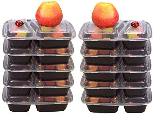 Lot de 10 boîtes repas à 2 compartiments Plastique réutilisable sans BPA avec couvercle.Lot de boîtes repas (taille XL 1000 ml) Empilables, passent au micro-ondes, au congélateur et au lave-vaisselle (noir)