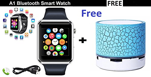 CASVO Compatible Micromax GC222 Pack of 2 A1 Silver Smart Watch Phone with Camera & SIM Card Support Touch Screen With Mini Bluetooth Speaker (Multi Lighting/Multi Color) For Smart Phones By CASVO  available at amazon for Rs.1349