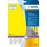 Herma 10166 - Etiquetas de archivador despegables A4, 192x61 mm, papel mate opaco, 80 unidades, color amarillo