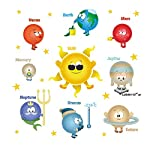 ufengke Cartoon Solar System Planets Wall Stickers Sun Earth Mars DIY Removable Wall Decals Childrens Room Nursery Wall Decor