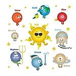 ufengke Cartoon Solar System Planets Wall Stickers Sun Earth Mars DIY Removable Wall Decals Childrens Room Nursery Wall Decor