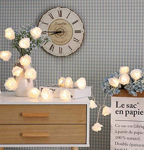 GLITZFAS Romantiche Weiße Rose Lichterketten Batteriebetrieben LED Dekoration für Whonzimmer Schlafzimmer Hochzeit Party Geburtstag (Weiß,3m) Romantica Rosen