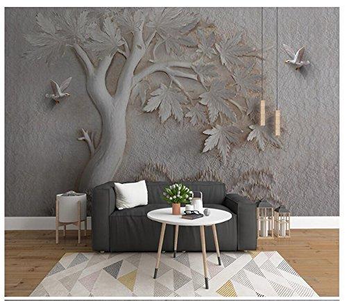 3D Wallpaper Wandbild dreidimensionale Relief Ahorn Vogel Hintergrund empfohlen Silk Tuch Material Ayzr - Ahorn Roll