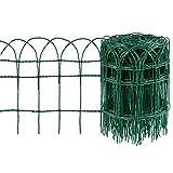 Amagabeli Recinzione del Giardino 0.4Mx25M Bordo Decorativo del Recinto del Bordo del Giardino Palizzata in Metallo RAL6005 Rete Recinzione Plastificata Antiruggine HC02