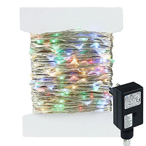 400led 40m catene luminosa filo di rame argento colore, 8 modalità, stringa luci led luminose, uso interno ed esterno per decorazioni feste, alberi di natale (multicolor)