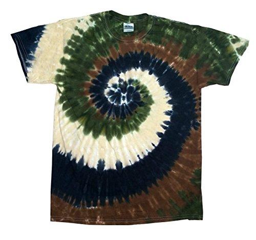 Colorful Adult & Youth Tie Dye Shirt Camo Swirl 10-12 (Camo Tie Dye)