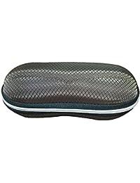 Drawihi Neue Oval brille box reißverschluss Faser Brillenetui sonnenbrille box Praktische Brillenbox (Braun)