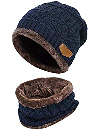 LQZ Kids Boys Girls Winter Warm Cap Set - Thick Knitted Fleece Lined Hat and Circle Scarf