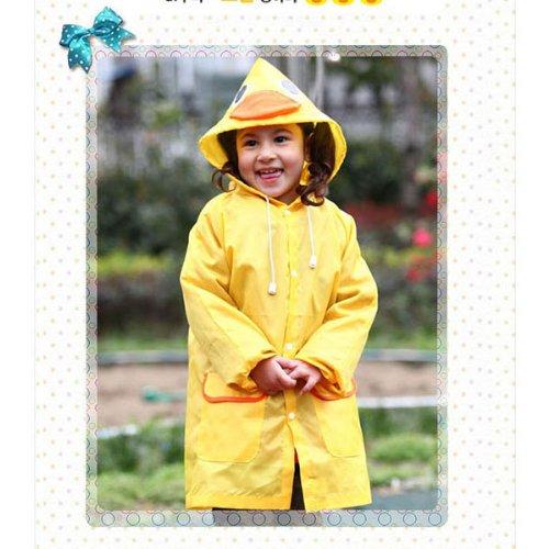 HuntGold Süß Kinder Jungen Mädchen Regen Mantel Outwear mit Kapuze wasserdichte Regenjacke Cartoon (gelb)
