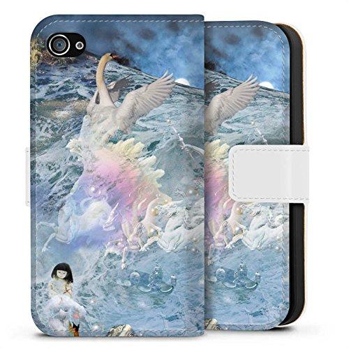 Apple iPhone X Silikon Hülle Case Schutzhülle Schwan Collage Kunst Sideflip Tasche weiß