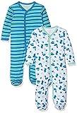 Care Baby-Jungen Schlafstrampler, 2er Pack, Grün (Jade Green 951), 0-3 Monate (Herstellergröße: 56)