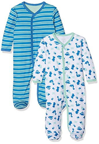 Care Baby-Jungen Schlafstrampler, 2er Pack, Grün (Jade Green 951), 0 - 3 Monate (Herstellergröße: 56 )