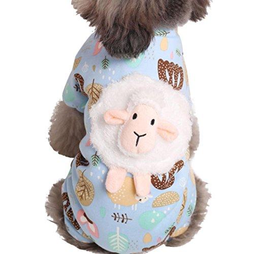 Igemy Haustier Kleidung Schaf Muster Winter Warm gepolstert Verdickung Mantel Hund Kostüme (S, Blau)