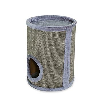 Dibea - Tonneau griffoir colonne avec sisal pour gratter, plateau avec peluche pour chat - Gris - Hauteur 50 cm