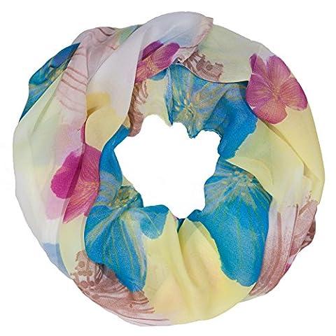 ManuMar Loop-Schal für Damen | feines Hals-Tuch mit Rosen Blumen-Motiv als perfektes Sommer-Accessoire | Schlauch-Schal in Gelb Blau Lila - Das ideale Geschenk für Frauenn