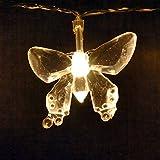 Schmetterling-LED-Lichterkette von LightsGo, USB-Anschluss, 20LEDs, 2m, für PC, Mac, Handy-Ladegerät 20LED 2M warmweiß