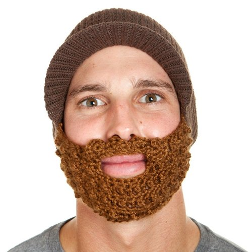 Original-Bartmütze: espressofarbenes Käppi mit muskatnussfarbenem Bart