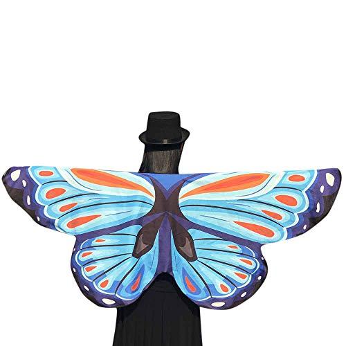 MIRRAY Damen Karneval Kostüme Schmetterling Kostüm Frauen Schmetterlingsflügel Schal Zubehör für Show/Daily / Party/Gelb Blau ()