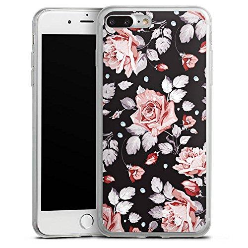 Apple iPhone 8 Slim Case Silikon Hülle Schutzhülle Rosen Blumen Muster Silikon Slim Case transparent