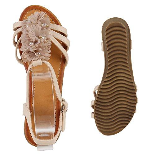 Damen Keilsandaletten Blumen Schuhe Sandaletten Zierperlen Creme