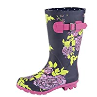 Girls Navy/Multi Floral Print Wellies Wellington Average Leg Height 24 cm