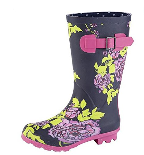 Woodland Girls Navy/Multi Floral Print Wellies Wellington Average Leg Height 24 cm