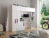 Furnistad | Hochbett für Kinder Delta | Kinderhochbett mit Leiter, Schrank und Schreibtisch (Weiß + Weiß + Rosa, 90 x 200 cm)
