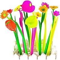 fantaisie fleur Ensemble de stylos à bille Noir 0,38 mm en herbe Stylo à encre gel d'école enfants étudiant Cadeau par Tily (10 pcs)