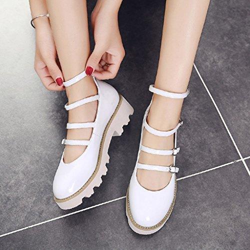 HWF Scarpe donna Spring Shallow Mouth Single Shoes Scarpe donna stile British femminile Retro scarpe piatte in pelle ( Colore : Nero , dimensioni : 36 ) Bianca
