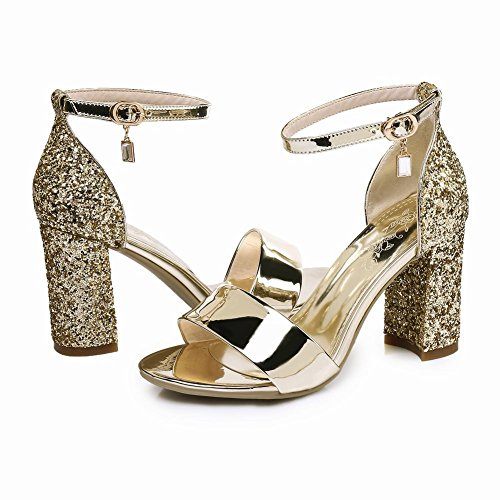 Mee Shoes Damen chunky heels Pailletten ankle strap Sandalen Gold