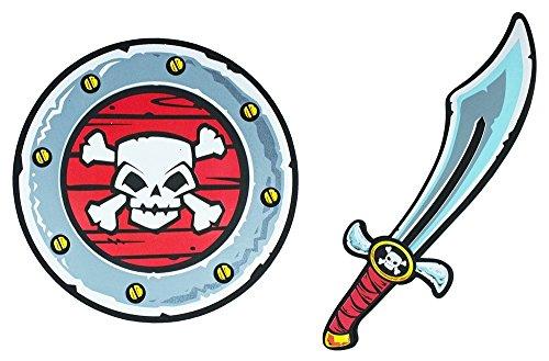 Schaumstoff Piraten Set mit Totenkopf - Schild und Schwert - Spielzeug Waffen für Kinder Zum Kostüm Pirat Seeräuber Wikinger