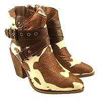 Ladies Faux Leather Cowboy Ankle Boots Side Zip Block Heel Buckle Detail Size UK 3-8