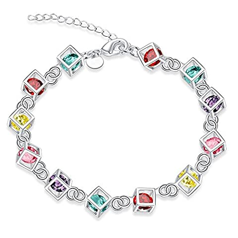 BODYA Silver Plated Multi Colored CZ Crystal Cubic Zirconia Box Inlay chain Tennis Bracelet