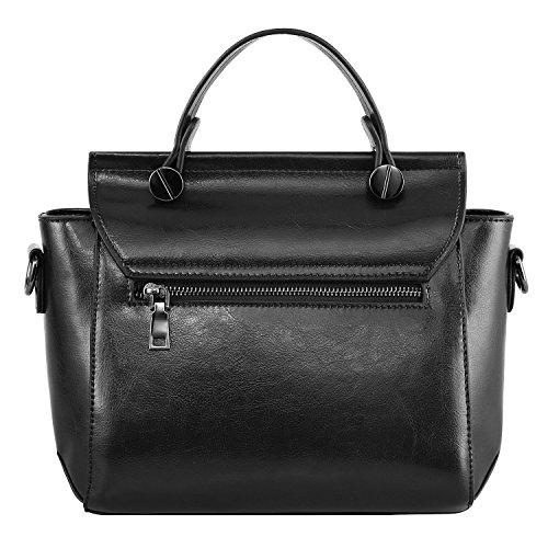 S-ZONE Borsa del messaggero della spalla della borsa del corpo della traversa della maniglia della parte superiore del manicotto alla moda casuale di modo delle donne di (nero) Nero