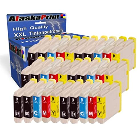 Premium Set di 30 cartucce di inchiostro compatibile con Brother LC-1000 LC1000 LC 1000 LC-970 LC 970 LC970 XL per Brother DCP-135C DCP-150C DCP-130C MFC-230C MFC-240C MFC-465CN DCP-330C Intellifax 2480C MFC-235C MFC-260C MFC-5460CN MFC-3360C 30xLC-1000-Brother