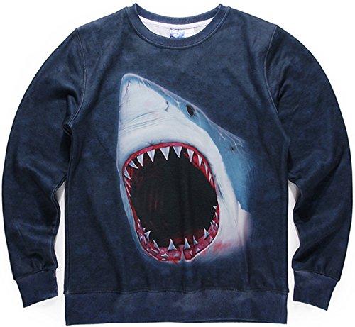 Pizoff Unisex Hip Hop Digital Print Sweatshirts mit Weißer Hai 3D Muster Y1628-22-S (Skull White Sweatshirt)